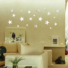 Amazon Com Auwer 20pcs 3d Star Shape Acrylic Mirror Wall Stickers Floor Stickers Diy Art Mural Decals For Kids Room Living Room Home Decor Removable Silver Home Kitchen