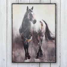 wood framed canvas horse wall art