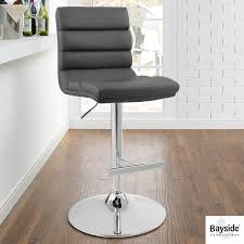 grey bonded leather gas lift bar stool