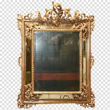 mirror with yellow metal frame