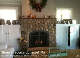 round fieldstone gas insert fireplace