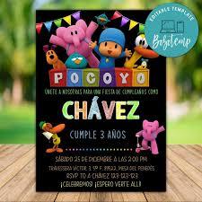Invitacion A Fiesta De Pocoyo Editable Descarga Instantanea Bobotemp