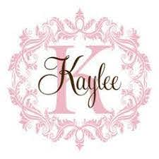The Name Kaylee In Glitter Personalized Vinyl Initial Name Wall Decal Shabby Chic Damask Baby Nursery Monogram Baby Girl Nursery Room Name Wall Decals
