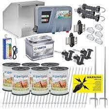Voss Farming Starter Kit For Horse Pony Fence 12 Volt For 400 Meter 3 Rows 1 Gate