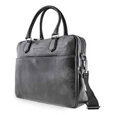 pebbled leather attache briefcase