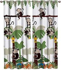 Amazon Com Ezon Ch Blackout Curtains For Bedroom Window Treatment Kids Bedroom Curtains Monkey Jungle In The Tree Cartoon Pattern Thermal Insulated Grommet Curtain Panels For Home Hotel 2 Panels 54 W By 39 L Home