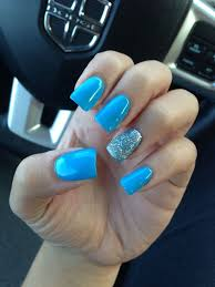 acrylic nails sti light blue new