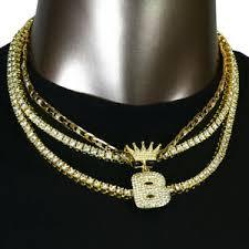 4pc Choker Figaro Tennis Links W/Hip Hop Crown Bubble Letter B ...
