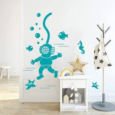Amazon Com Wallency Nursery Vinyl Wall Art Decal Featuring A Scuba Diver Fish Seahorse And Starfish High Quality Removable Vinyl Sticker Handmade