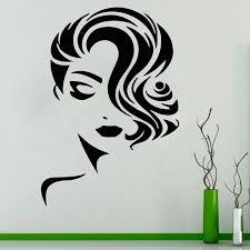 Woman Face Salon Window Decal Elegance Lady Beauty Salon Decal Vinyl Sticker Roll Hair Salon Hair Style Decor Sl35 Wall Stickers Aliexpress
