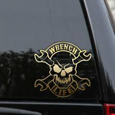 Wrench Life Mechanic Decal Sticker Skull Biker Harley Davidson Window Truck Car Ebay
