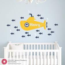 Submarine Boy Wall Decal Personalized Name Underwater Ocean Nursery Graphic Spaces