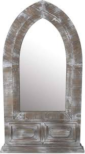 distressed wood dome wall mirror