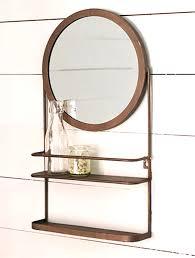 double shelf round mirror antique