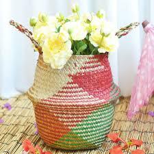 wicker basket flower pot folding basket
