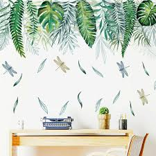 Tropical Leaves Dragonflies Wall Decal Kids Room Decor Vinyl Stickers Border Diy Ebay