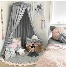 Tassel Decoration Round Dome Princess Bed Canopy Gray Tychome