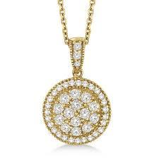 vintage circle diamond pendant necklace