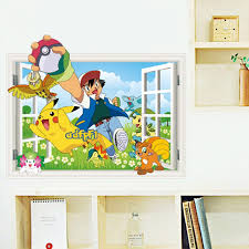 Best Promo 77ed7 3d Cartoon Pokemon Elf Pikachu Pvc Wall Decals Sticker Wall Stickers Mural Art Home Decor Household Children Bedroom Birthday Gi Cicig Co
