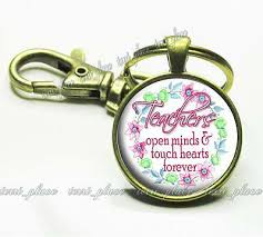 teachers quote glass top key chain teaching gift touch hearts open