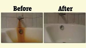 remove iron rust from bathroom surfaces