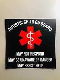 Autism Medical Alert Car Decal Autistic Child On Board Medical Alert 614vinylllc