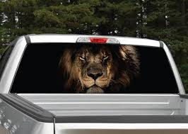 Lion Head Rear Window Graphic Decal Truck Suv Perforated Etsy