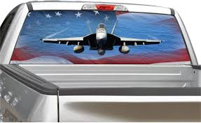 Amazon Com Fighter Jet American Flag Air Force Navy Rear Window Graphic Decal For Truck Suv 4 Sizes 22 X 66 Automotive
