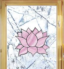 Clr Wnd Stained Glass Lotus Flower Vinyl Window Decal C Yydc 5 W X 4 5 H For Sale Online