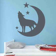 Wolf With Moon And Stars Wall Decal Style And Apply