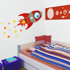 Red Flying Rocket Wall Sticker Space Wall Sticker Rocket Etsy