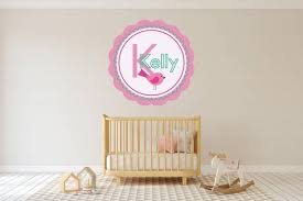Custom Name Initial Pink Bird Wall Decal Egraphicstore