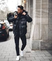turtleneck with a puffer jacket for men