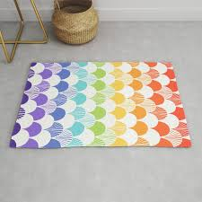 Rainbow Clam Quilt Colorful Pattern Waves Perfect Kids Room Decor Rug By Charlottewinter Society6