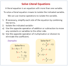 solving literal equations word problems