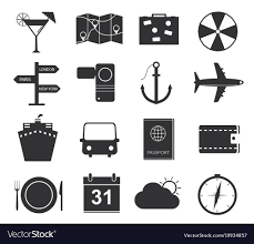 black icons tourism royalty free vector