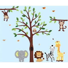 Green Large Tree Wall Decal With Jungle Wall Decorations For Boys Rooms