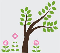 Tree Wall Design Wall Decals Stickers Cute Tree With Flowers Vinyl Wall Design