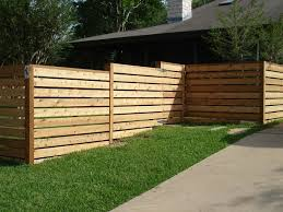 Wood Fences Gallery Viking Fence Horizontal Semi Privacy Fence Made With 5 4 Board Stained 2 Fence Design Fence Decor Modern Front Yard