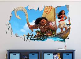 Amazon Com Moana Surf Smashed 3d Wall Decal Mural Art Kids Boy Smash Home Decor Removable Sticker Vinyl Ww04 Large 30 W X 16 H Home Kitchen