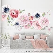 Large Flower Set Flower Wall Decal Floral Wall Decal Etsy In 2020 Floral Wall Decals Flower Wall Stickers Floral Wall