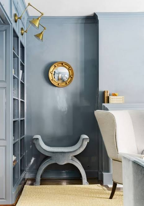 Image result for smokey grey blue wall paint