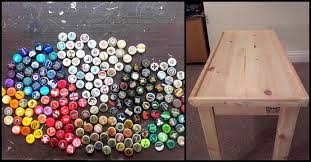 diy table from bottle caps