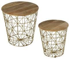 gold storage basket side table 159127
