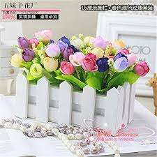 16 Cm Wood Fence Colorful Roses Artificial Fake Silk Plastic Flowers For Coffee Dining Table Living Room Home Decorations Furnishings Christmas Halloween Wedding Birthday Party Gift Buy Online In Belize