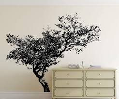 Amazon Com Stickerbrand Leaning Tree Wall Decal Black Living Room Bedroom Bathroom Decor 72in Tall X 85in Wide 848s Home Kitchen