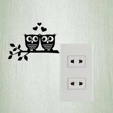 Owls In Love Heart Couple Removable Vinyl Wall Decal Switch Sticker Home Decor Wedding Room 3ss0216 Stickers Home Decor Switch Stickerhome Decor Aliexpress