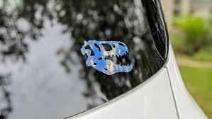 Holographic Dinosaur Sticker Holographic T Rex Skull Car Etsy In 2020 Holographic Car Dinosaur Stickers Car Window Stickers