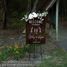 Welcome Wedding Board Sign Decal Personalized Bride Groom Names Greeting Decals Wedding Decorations Chalkboard Sign Sticker Wreath Custom