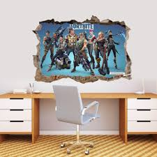 Fortnite Decal 3d Smashed Wall Sticker Home Decor Art Mural Photo Graphic J1308 Wall Stickers Home Decor Decor Wall Sticker